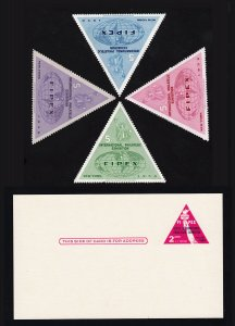 1956 FIPEX EXHIBITION LABELS - MINT SET OF 4 & MINT UX44