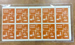 {BJ STAMPS} TWA Vintage poster stamp labels, mint pane of 10 : US VIA TWA