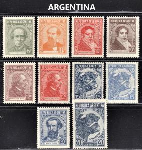 Argentina Scott 428-35, 439-39A  wtmk 90  F to VF mint OG NH, H or HR.