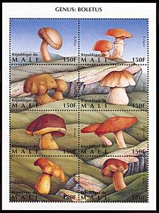 Mali 764, MNH, Mushrooms, Genus Boletus miniature sheet of 8