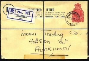 NEW ZEALAND 1973 22c registered envelope used MURAPARA.....................97487