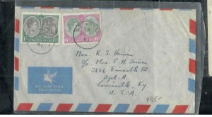 ST KITTS NEVIS COVER (P0807B) 1951  KGVI 6D +1/-   COLUBUS A/M COVER TO USA