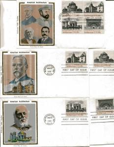 US FDC Scott #1928-31 American Architecture. 5 Colorano Cachets. Free Shipping