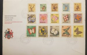 O) 1974 RHODESIA, BUTTERFLIES - PEARL CHARAXES - SHOWN - YELLOW PANSY - LIKE