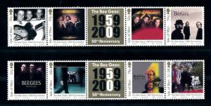 [72979] Isle of Man 2009 Music the Bee Gees LP Covers  MNH
