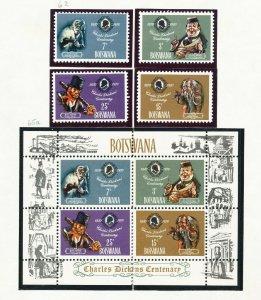 BOTSWANA - # 62-65 & 65a - VFMNH set & S/S - Charles Dickens - 1970