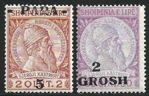 1914 Albania - Squiperia, N° 41 And 45 Overprint Severely Moved Mlh