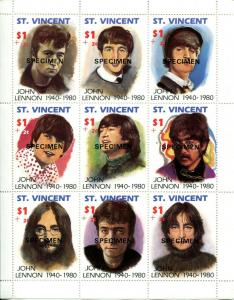 SPECIMEN ST Vincent John Lennon Beatles Sheet of 9 Stamps Postage MINT NH
