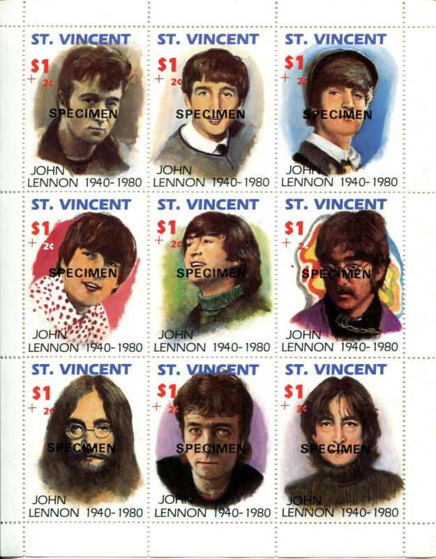 SPECIMEN ST Vincent John Lennon Beatles Sheet of 9 Stamps Postage MINT NH