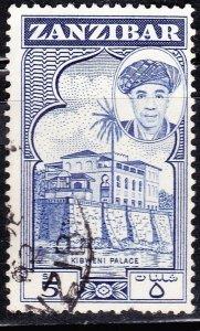 ZANZIBAR 1961 5 Shillings Deep Bright Blue SG385 Fine Used