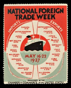 1934 National Foreign Trade Week Map ( US Poster Stamp ) NH