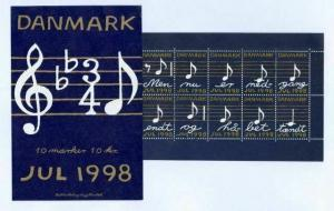 Denmark. Booklet 1998. 10 Christmas Seals MNH. Music Notes
