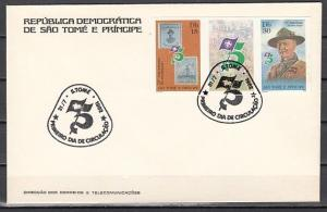 St. Thomas, Scott cat. 658-659. Anniv. of Scouting w/Label. IMPF First day cover