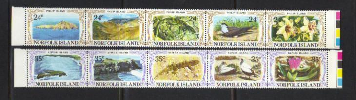 NORFOLK ISLAND 1982 PHILIP AND NEPEAN ISLANDS MNH SET OF 10
