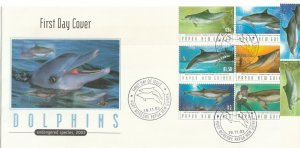 Papua New Guinea FDC Dolphins Endangered Species 2003 6 Stamps