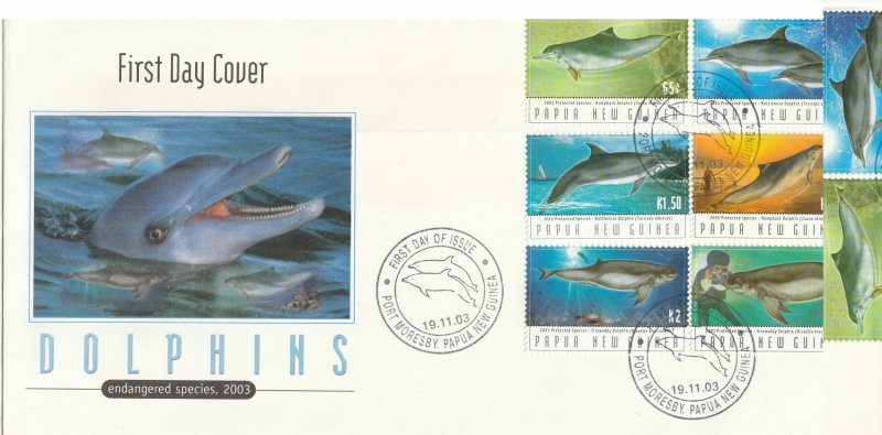 Papua New Guinea FDC Dolphins Endangered Species 6 Stamps 2003