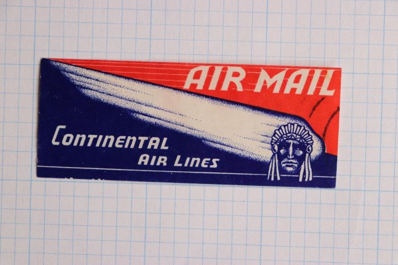 Airmail Etiquette Label seal Continental Airline Indian Chief ad used stamp
