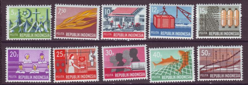 J21038 Jlstamps 1969 indonesia set mh #766-75  designs