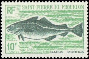St. Pierre & Miquelon #419-422, Complete Set(4), 1972, Fish, Hinged