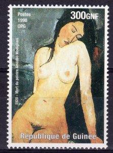 Guinea 1998 YT#1433 Amedeo Modigliani Nudes Paintings Single Perforated MNH