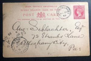1895 Turks Island Postal Stationary Postcard Cover To Allegheny City Pa USA