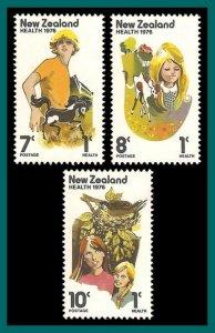 New Zealand 1976 Health, Animals, MNH  #B95-B97,SG1125-SG1127