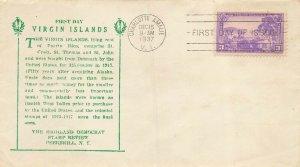 802 3c VIRGIN ISLANDS - Highland Democrat cachet