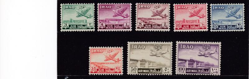 Iraq 1949 First Airmail set Complete (8) in VF/NH Condition