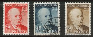 Norway Scott 318-320 used 1951 stamp set