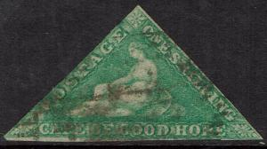 CAPE OF GOOD HOPE 1863 TRIANGLE 1/- DE LA RUE PRINTING USED