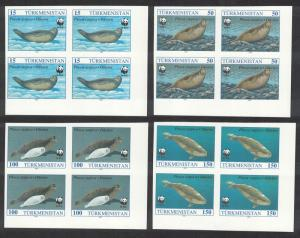 Turkmenistan WWF Caspian Seal 4v Corner Blocks of 4 IMPERF - RARR! SG#32-35