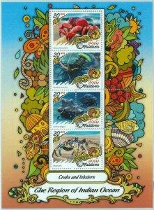 A1081- MALDIVES, ERROR, MISPERF, Miniature s: 2017 Lobsters, Crabs, Indian Ocean