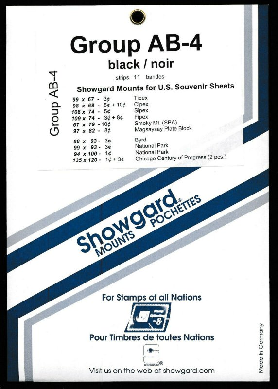 Showgard Stamp Mount Set Group AB-4 US Souvenir Sheet  BLACK (Pack of 11) PRECUT