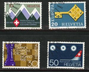 Switzerland Scott 487-490 used CTO 1968