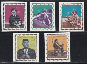 Yemen (Kingdom) M# 381A-385, John F, Kennedy, Surcharged Stamps, Imperf, NH