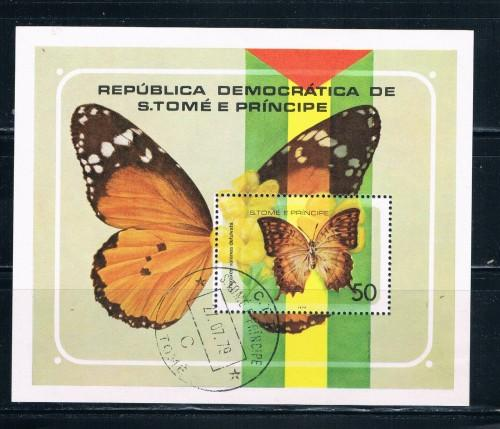 St Thomas and Prince Islands 507 Souvenir Sheet Used Butterflies (S0152)