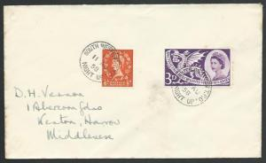 GB 1958 cover SOUTH WESTERN TPO / NIGHT UP railway cancel..................53348