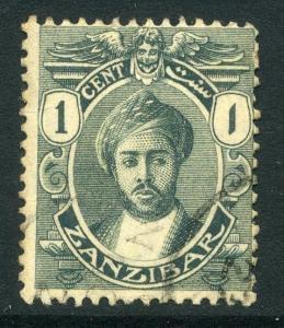 ZANZIBAR; 1913 classic Sultan issue 1c. fine used value