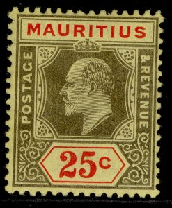 MAURITIUS EDVII SG190, 25c black & red/yellow, M MINT.