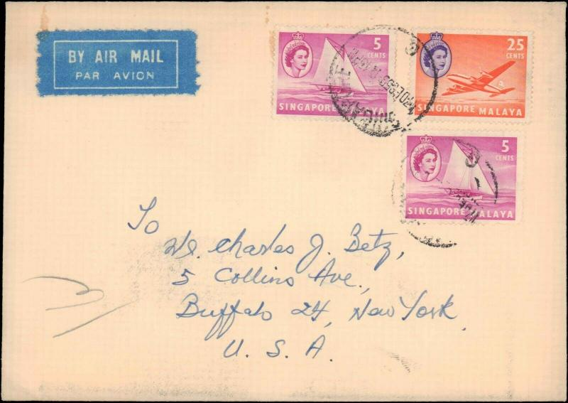 SINGAPORE 1959 MULTI STAMP TO UNITED STATES