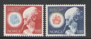 Norway Sc 602-3 1973 Hansen Bacillus stamps mint NH