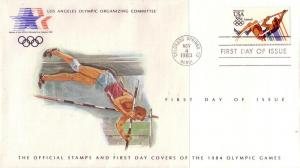 US FDC's Sc# C109 C112 OFFICIAL '84 Olympics Set ST59