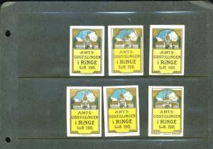 6 DANISH 1911 AMST Exhibition AMST UDSTILLINGEN POSTER STAMPS (L1062) DANMARK