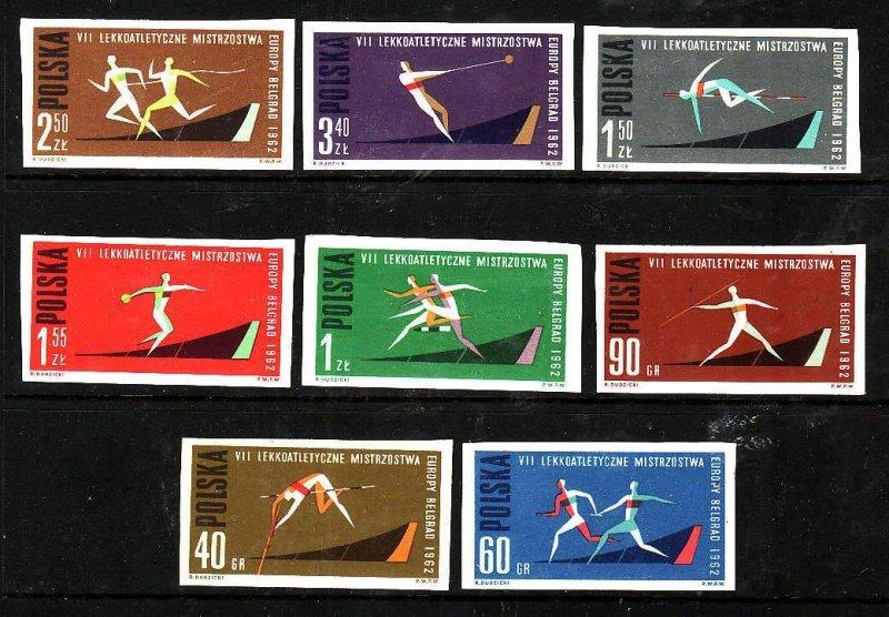 Poland-Sc#1079-86- id5-unusedNH imperf set-Sports-1962-