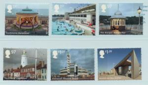 Great Britain Sc 3321-6 2014 Seaside Architecture  stamp set mint NH