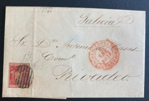 1838 Barcelona Spain Letter Sheet cover To Bivadeo