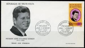 UPPER VOLTA 1963  JOHN F. KENNEDY MEMORIAL FIRST DAY COVER