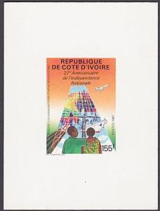 IVORY COAST 1987 27th Anniv Independence Die Proof on card.................87357