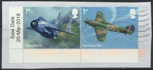 GB  RAF 2018 issue 1st Class se-tenant pair  Used on piece