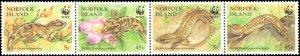Norfolk Islands #596, Complete Set, Strip of 4, 1996, World Wildlife Fund, Ne...